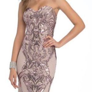 Camille La Vie Strapless Basketweave Sequin Dress